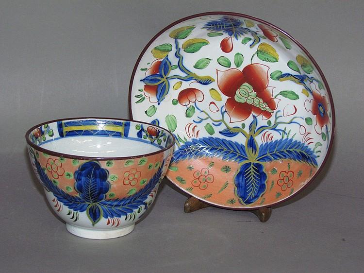 English pearlware Gaudy Dutch dove handleless cup & saucer