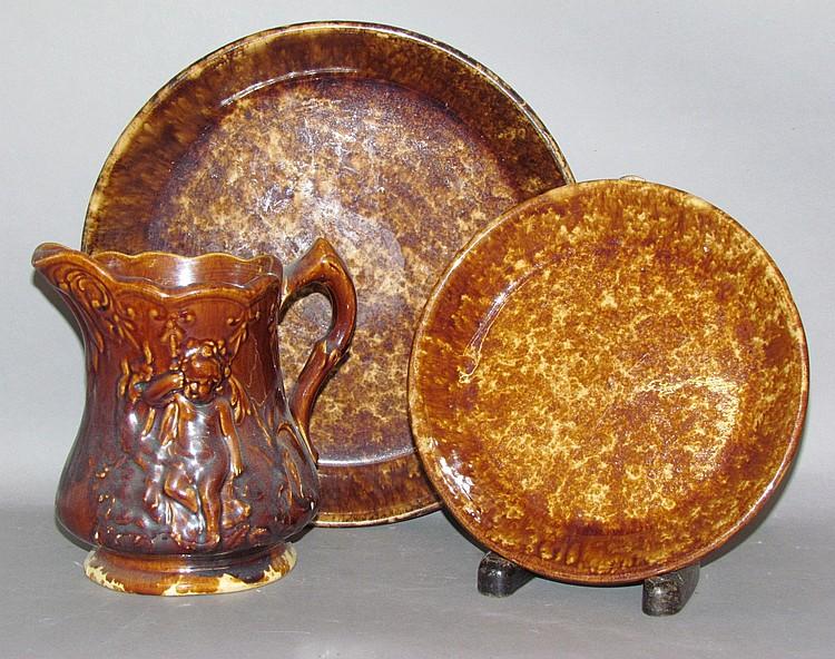 3 Rockingham glazed yellowware items
