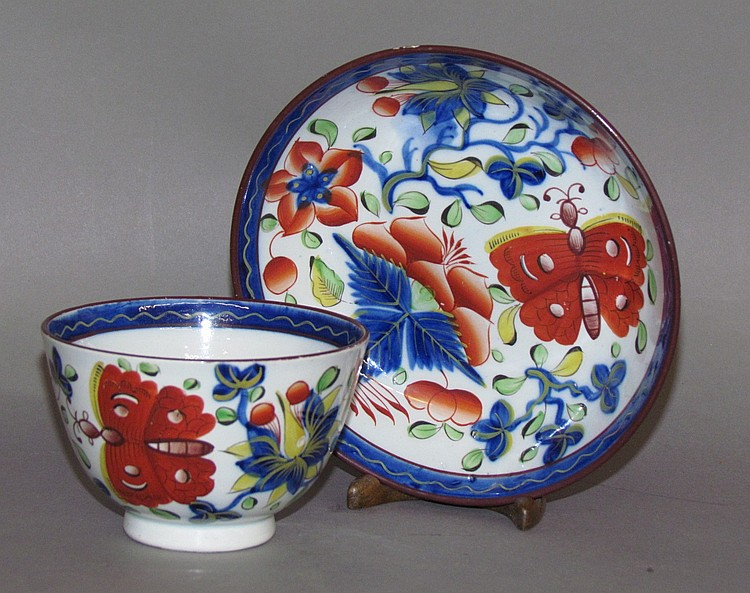 English pearlware Gaudy Dutch butterfly handleless cup & saucer