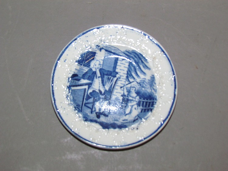 English pearlware blue transfer of a child & gentleman cup plate