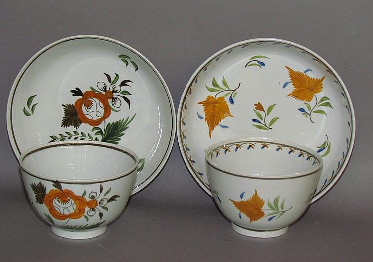 2 English pearlware handleless cups & saucers