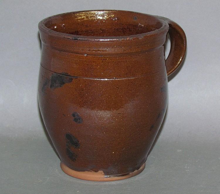 PA redware handled pot