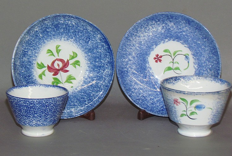 2 child's blue spatter cups & saucers