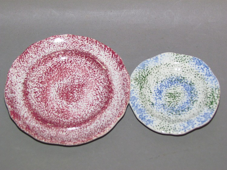 2 small English earthenware spatter plates