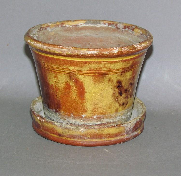 PA redware flower pot