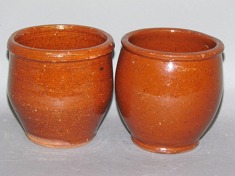 2 PA redware jelly jars