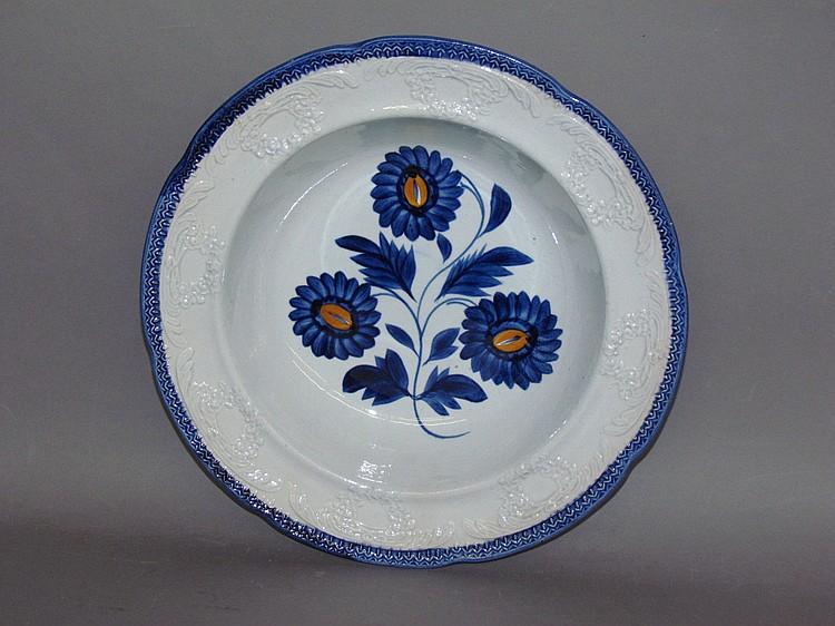 Clews pearlware blue edged deep dish