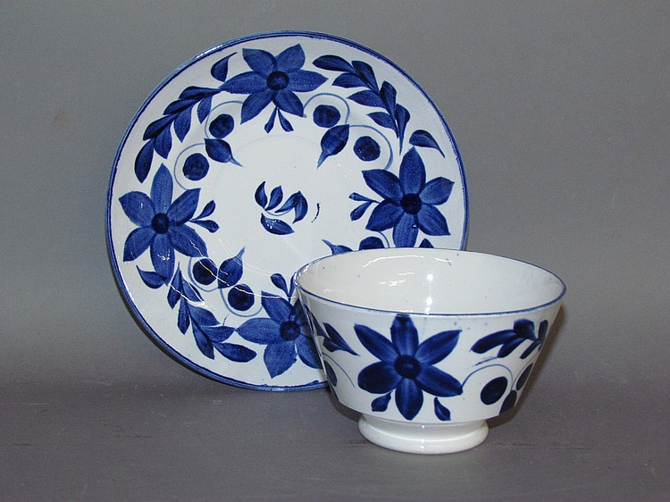 English pearlware blue decorated handleless cup & saucer