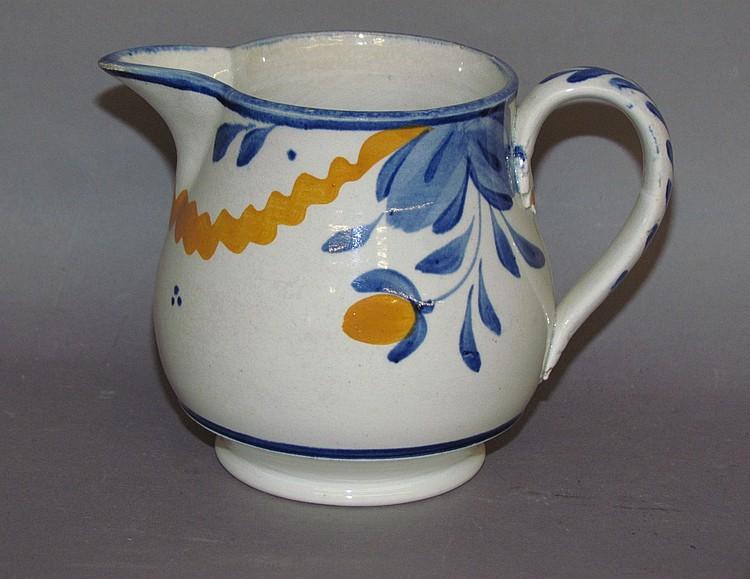 English pearlware decorated creamer