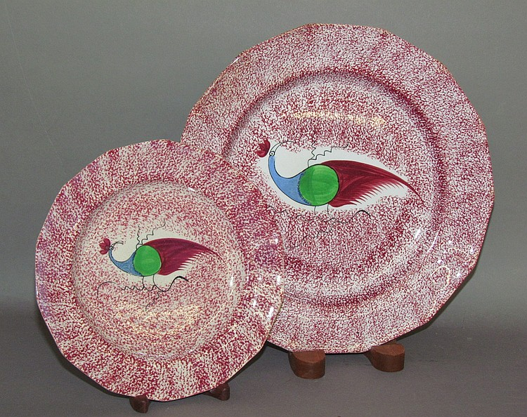 2 red spatter peafowl plates by Adams