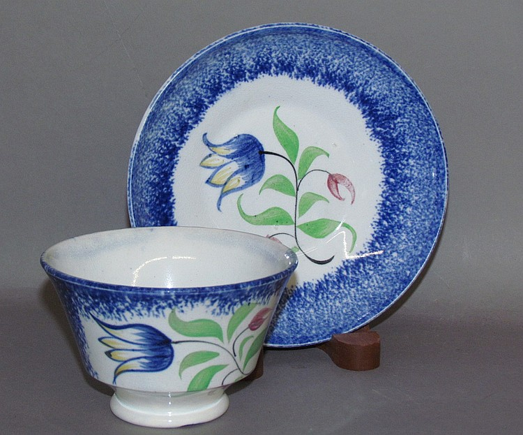 Blue spatter tulip cup & saucer