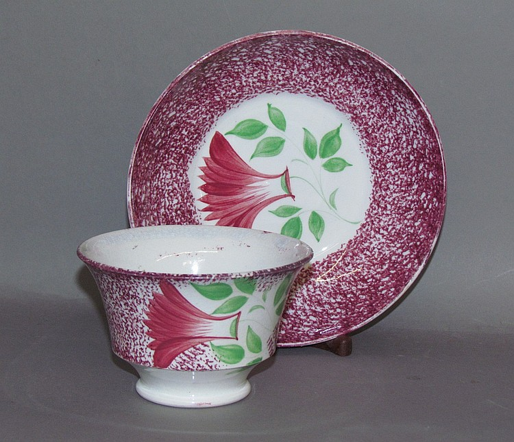 Red spatter thistle cup & saucer