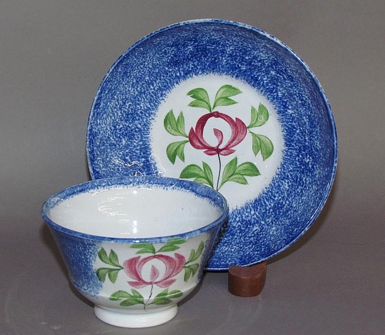 Blue spatter cup & saucer, rose motif