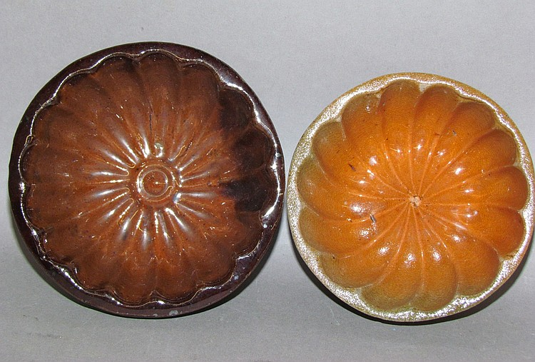 2 PA small round redware food molds