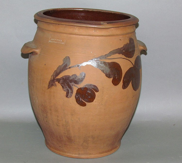 Manganese decorated John Bell redware crock