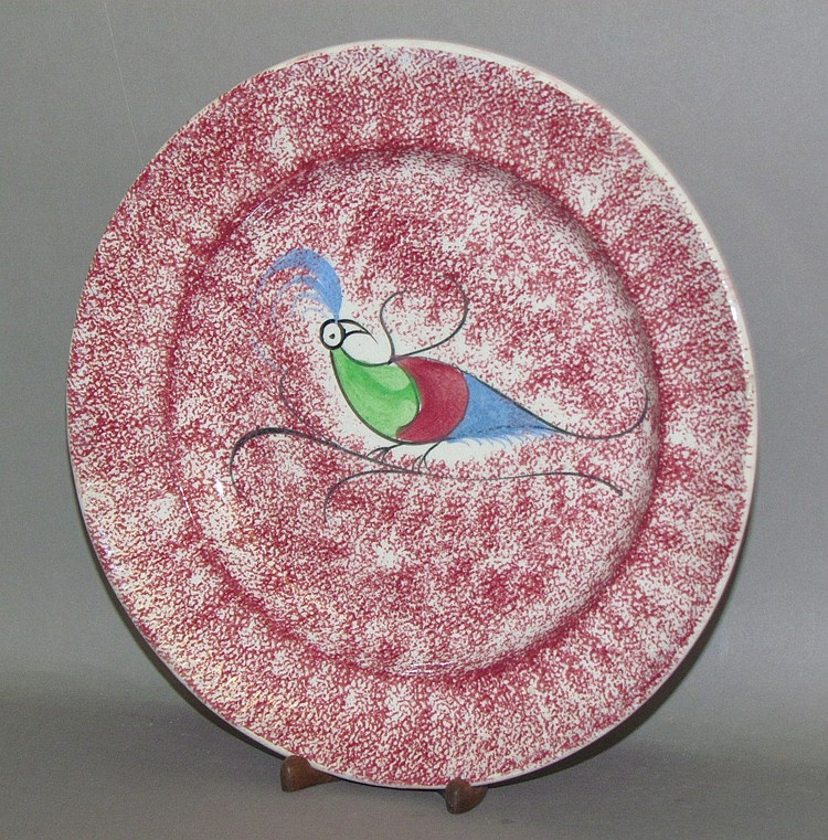 Red spatter peafowl plate