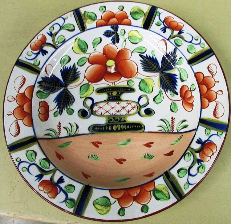 English pearlware Gaudy Dutch urn plate