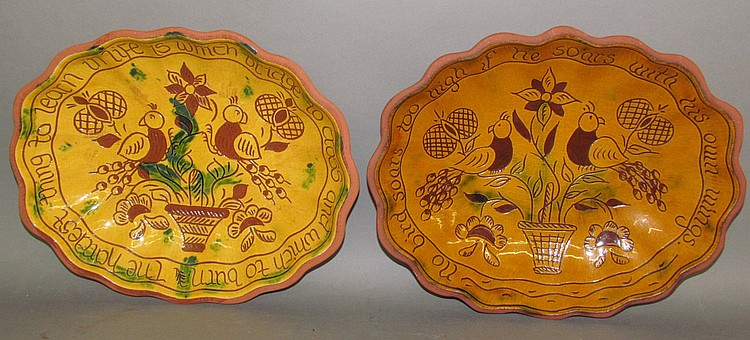 2 Breininger sgraffito oval serving bowls