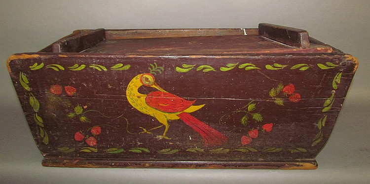 Folk art paint decorated dough tray
