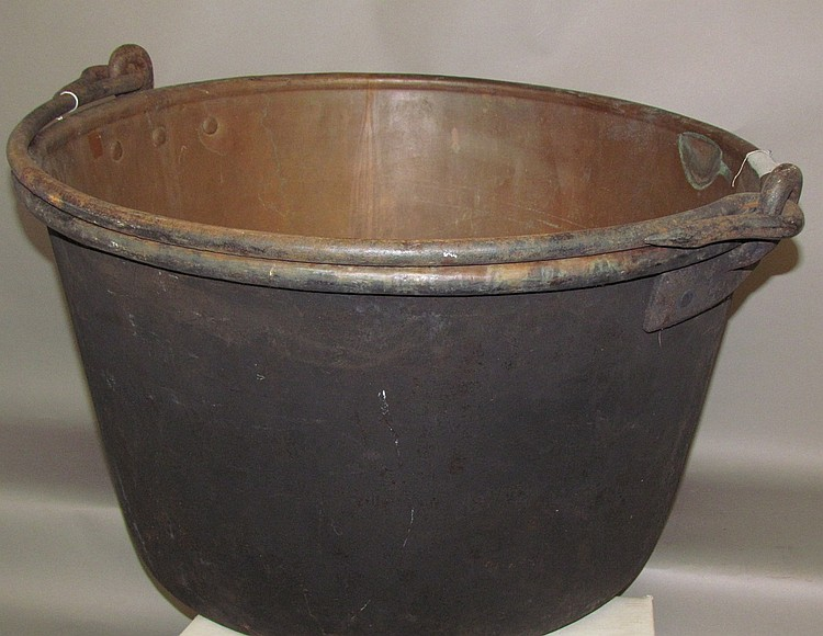 Lot 130: Copper apple butter kettle