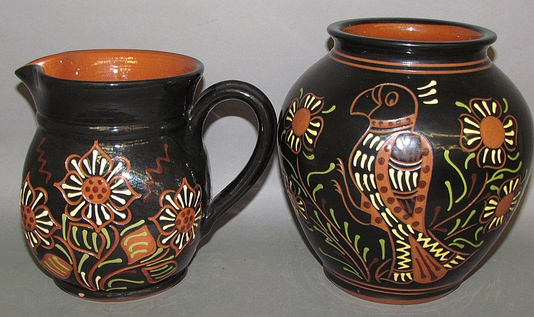 "2 Breininger pottery ""Moravian Style"" redware pieces"