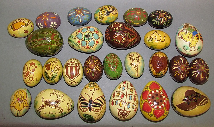 Large group of Breininger pottery redware Easter eggs