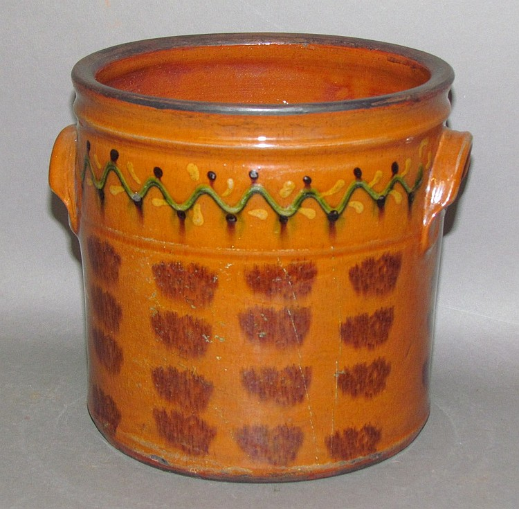 Lot 25: Shooner redware crock
