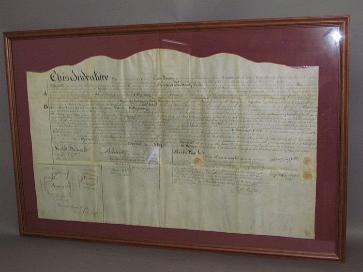 Framed Windsor Twp. Berks Co. indenture