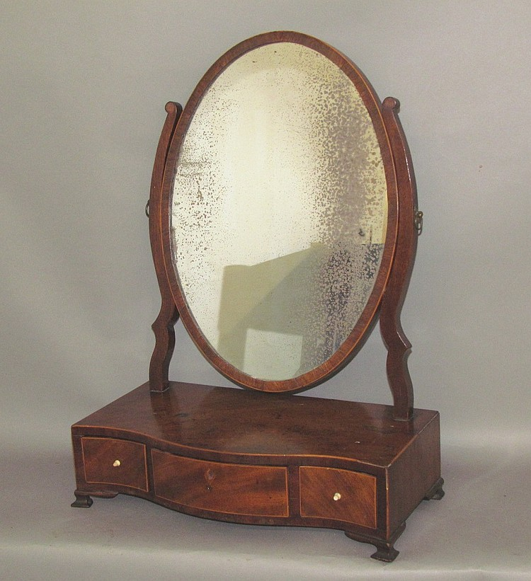 English mahogany three drawer shaving mirror