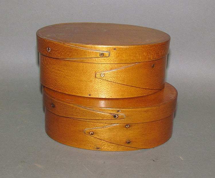 Pair of oval bentwood pantry boxes