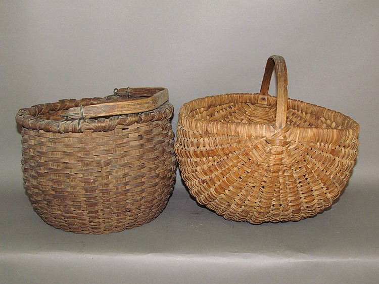 2 oak splint gathering baskets