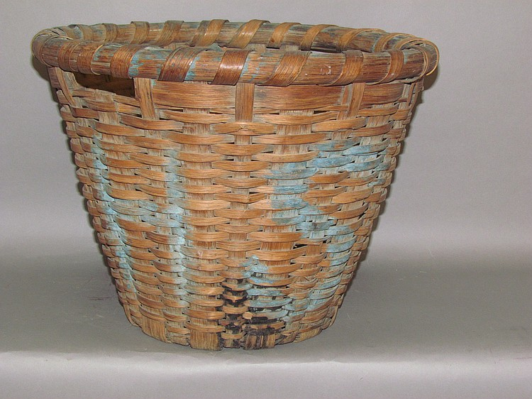Oak splint fisherman's gathering basket