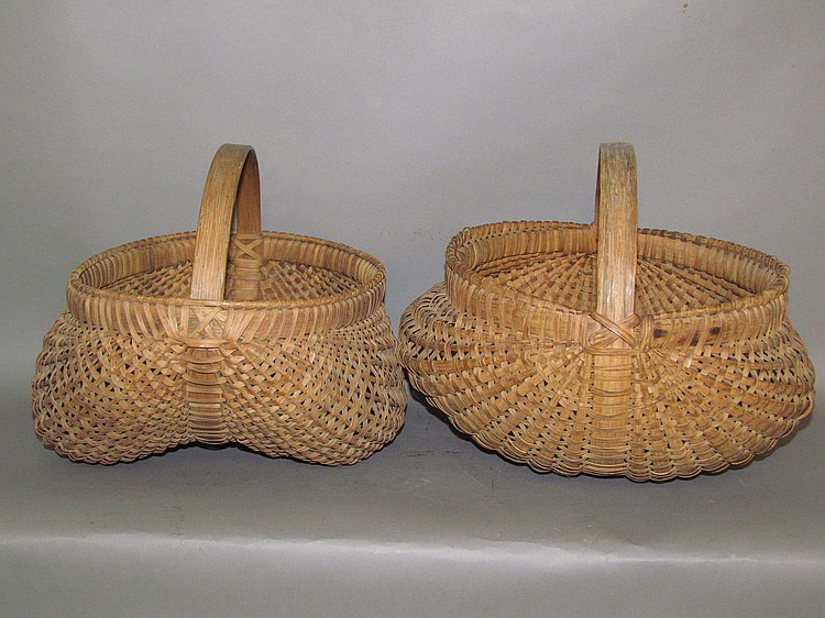 "2 oak splint ""orschbok"" form baskets"
