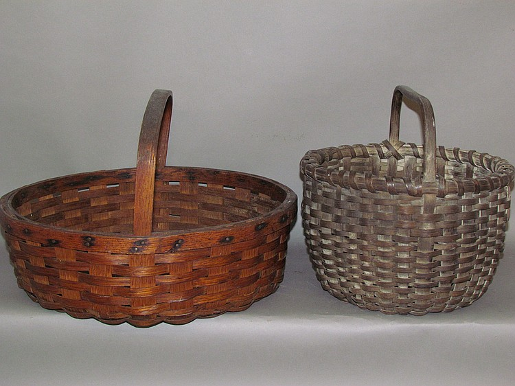 2 oak handled baskets