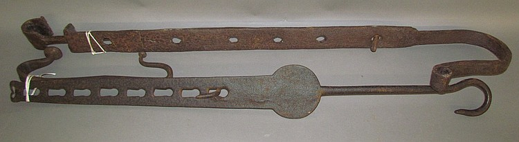 2 wrought iron bar & hook kettle trammels