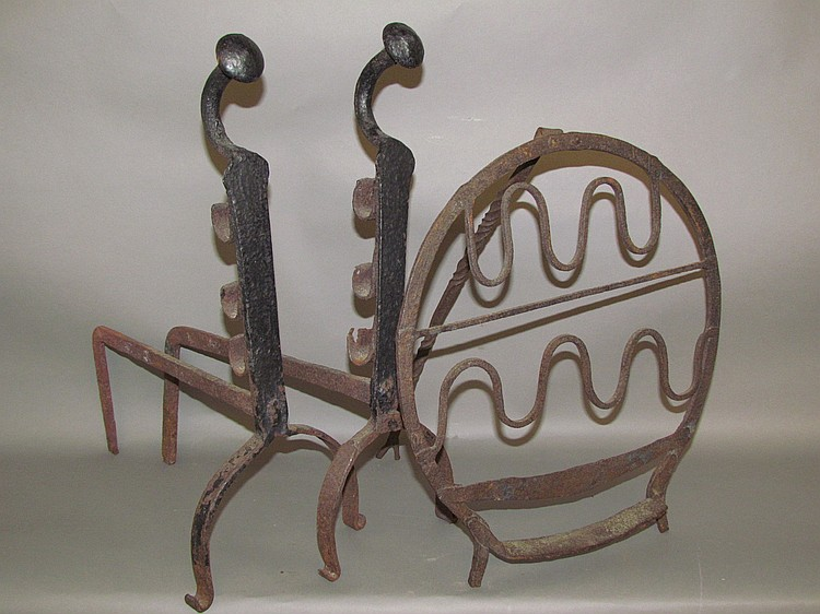 Plate warmer & pair of andirons