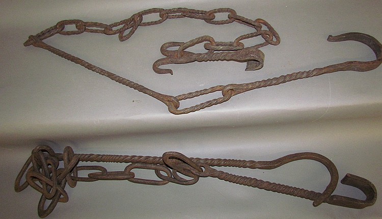 2 wrought twisted chain & hook kettle trammels