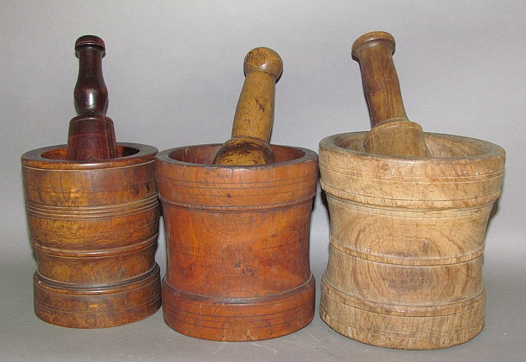 3 turned mortars & pestles