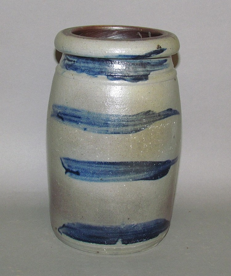 Striped cobalt decorated stoneware jar