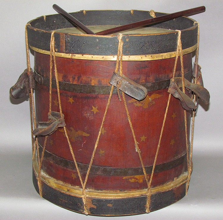 Military style field drum with sticks