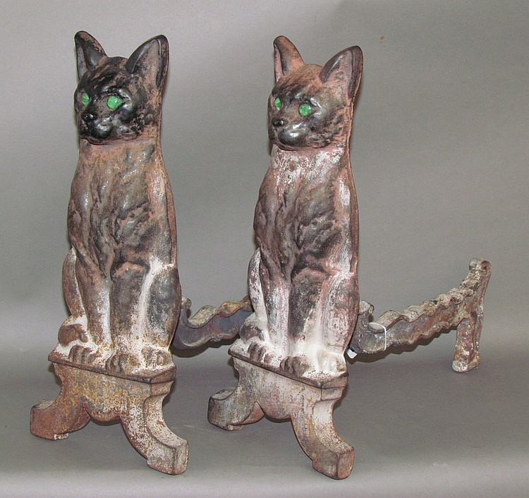 Pair of cast iron figural andirons