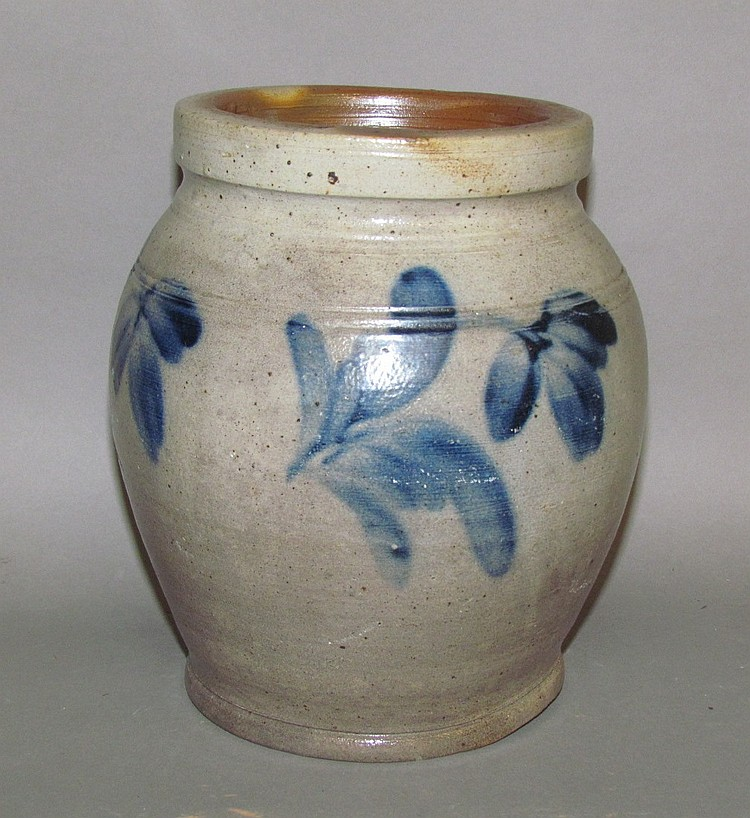 Cobalt decorated ovoid stoneware jar