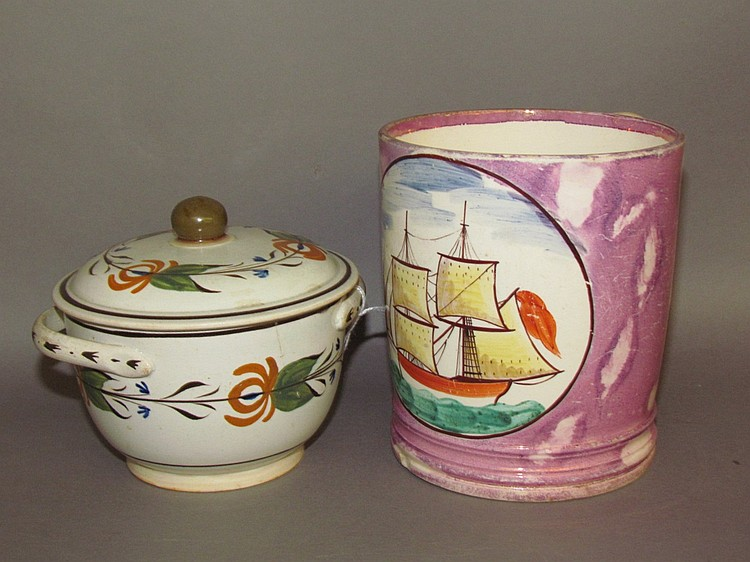 English earthenware mug & covered sugar
