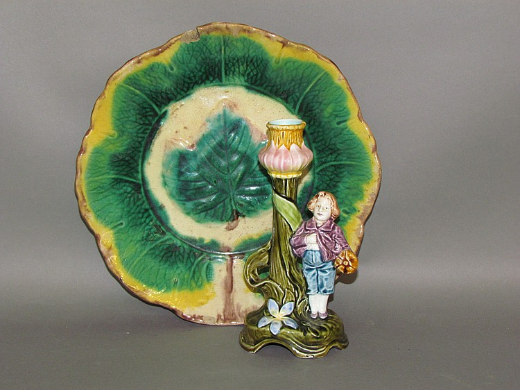Majolica candle holder & shallow bowl