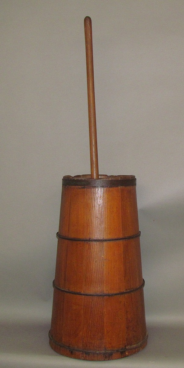 Wooden coopered cask butter churn