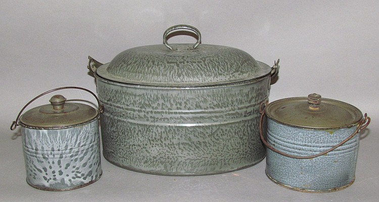 3 pieces of gray agateware