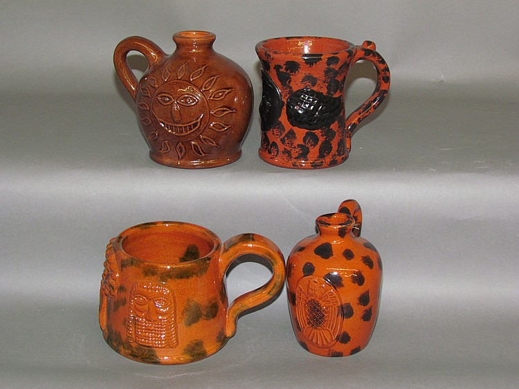4 Seagraves folk art redware pieces