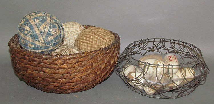 Rye straw basket & wire egg basket