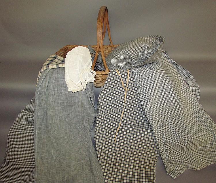 Lot 109: Flower basket & blue check linens