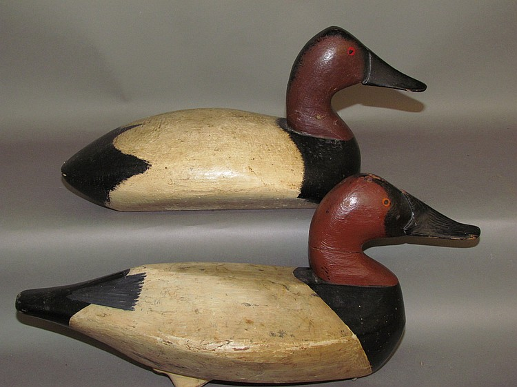2 vintage working canvasback drake decoys